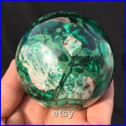 0.99LB Natural Malachite Quartz Crystal Sphere,Quartz Ball,Home Decoration,Crystal Healing,Divination Ball,Gifts,Crystal Collectible