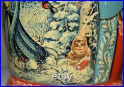 10 , 10 psc. nesting doll. Hand-painted Snowgirl Russian fairy tale on wooden matryoshka. Handmade