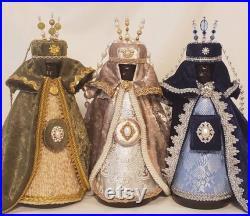 12 Vintage Handmade Three Kings Wise Men Set