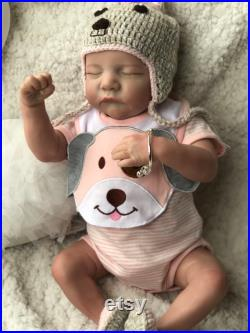 18'' Reborn Dolls, Realistic Reborn Preemie Doll, Hand-drawing Soft Silicone Vinyl Babies Doll