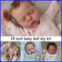 19 Inches Soft Vinyl Reborn Baby Body Parts Unpainted Blank Doll Kit Willa