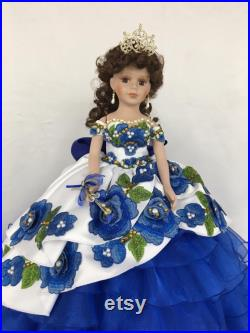 22 Personalized Quinceanera Doll Dress, Custom made Doll Dress, Includes Custom made Dress and Doll