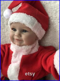 60CM Reborn Babies Dolls, Reborn Maddie Boy Toddler Realistic Santa Soft Body Flexible Hand-Drawing Hair 3D Skin Tone with Veins