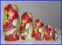 7.7 , 5 psc. nesting doll. Hand-painted Princess frog scenes from Russian folk tale, wooden matryoshka
