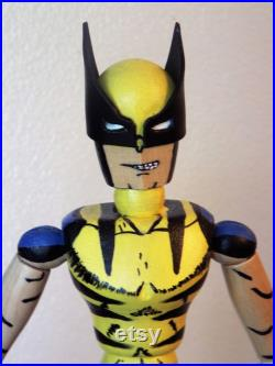 A Wolverine, x-men, Pop-Art, Art Doll, wooden figure, Sculpture, unusual, original and hand painted