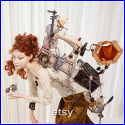 ART DOLL Returning from the flea market 3, Interior EASTER doll, Handmade retro doll.