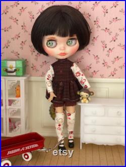 Amelie Custom Doll Blythe Doll Doll Ooak Art Doll Black short Hair, 1930s Hairstyle