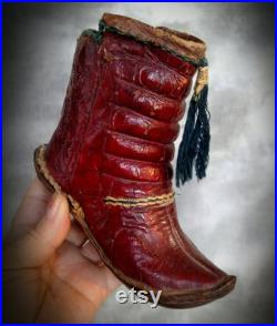 Antique Vintage Childs Turkish Tribal Mongolian Yemeni Red Leather Boots Great Display or use for Elvan Doll Boots