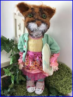 Art Cat Doll, Paper Mache, Sculptured Doll, Ginger Cat TRIXI