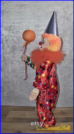 Art Doll Cute Red Clown, OOAK Doll, Textile Clown Dolls, Fabric Doll, Whimsical Sculpture, Stuffed Rag Doll, Collectible Dolls, Unique Gift