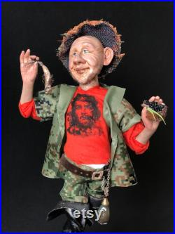 Art doll the fisherman, personalized gift, handmade doll.
