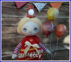 Art fabric doll clown doll with balloons