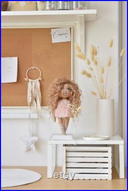 Art fabric doll on the stand in gift box birthday gift, 30th birthday gift for women, 50th birthday gift for women, 70th birthday gift woman