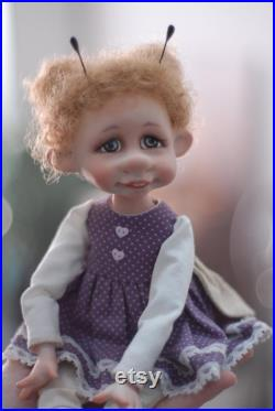 Artist Doll Moth, OOAK, Collectible Doll, Fantasy doll. Funny mothers day
