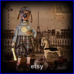 Author's textile interior doll the dog Martin