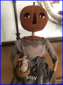 BIG Pumpkin Girl Doll and Mouse