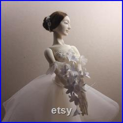 BJD doll ballerina Giselle Full set, collectible doll, gift for ballet dancer.