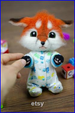 Baby Fox Collectible Felted Doll, Authentic Designer Toy, Furry Kawaii Plush, Fantasy Figurine, Fairy Tale Creature, Animal Lover Cute Gift