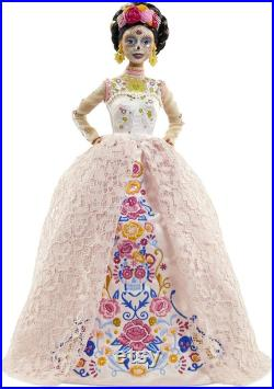 Barbie Signature Dia De Muertos 2020 Doll (12-in Brunette) in Embroidered Lace Dress and Flower Crown, with Certificate of Authenticity