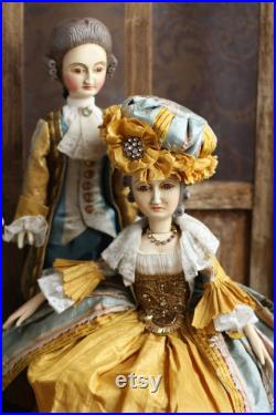 Baroque period jointed doll antique replica doll doll in historical women costume collection wooden doll articulated doll TO ORDER