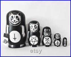 Black metal cat nesting dolls Handpainted Creepy cute Matryoshka set, Satanic gothic home decor, Witchy gift