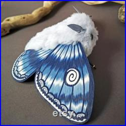 Blue Moth Moth plush Collectible doll Ooak creature Insect interior toy Made to order