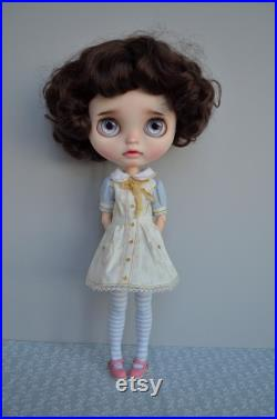 Blythe custom doll blythe brown hair Ooak blythe doll Custom Blythe doll brunette Blythe outfit