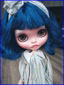 Blythe custom doll, blythe with blue hair, ooak TBL