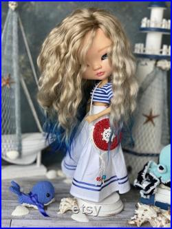 Blythe custom ooak bjd sculpted doll Asian girl natural hair reroot Asian eyes the best gift for a girl for collectors