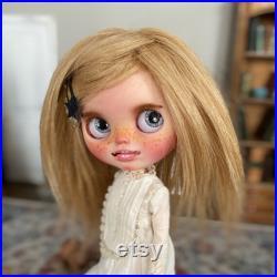 Blythe doll blonde hair custom, natural skin Long blonde natural goat hair, a birthday girl, gift for her, cute doll, vintage doll