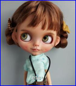 Blythe ooak custom doll tbl base, smiling doll with neckjoint and ears added, free shipping