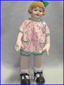 Cloth Doll made from Antique Composition Head, Painted Doll, OOAK, NIADA