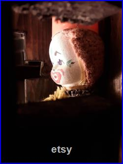 Creepy Craft Clown Doll inside wooden plexiglass display case made by the Dollmaster Clown Possibly Haunted