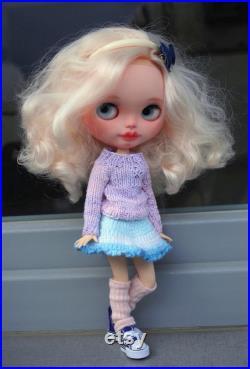 Custom Basaak doll with outfit,custom ooak doll, artist doll, Blythe clone