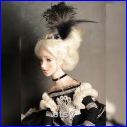 Distinctive doll, artist polymer clay and papier-mache doll, art collector gift, 70 cm or 27.5 inch high