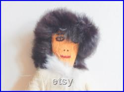 Doll, Vintage Inuit Eskimo Doll, with fur, beads, handbag, beaded eyes, mouth about 11 , very collectible