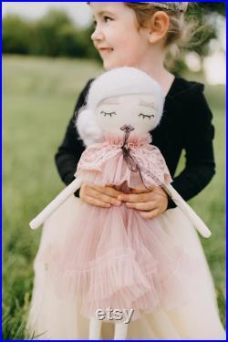 Fairy rag doll Girl keepsake gift Nursery decor Personalized handmade plush friend Soft toy Kids room decor Girl birthday gift