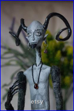 Fawn doll monster sculpture mythical creature sculpture pagan art