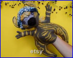 Felted Doll Bibabo. Hand puppet glove. Companion toy. Marionette for home theater. Wet felting. Eco-gifts