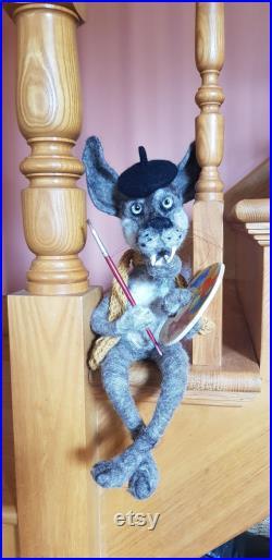 Felted dog wolf Felted animal Handmade Textile sculpture Textile Art OOAK