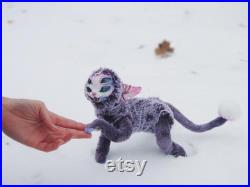 Five-eyed cat poseable art doll