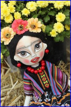 Frida Kahlo doll,Frida Kahlo,Frida,Nursery decor,Cloth doll,Collection doll,present doll