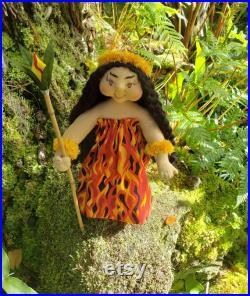 Goddess Ooak 10 Art Doll Pele, Volcano Goddess