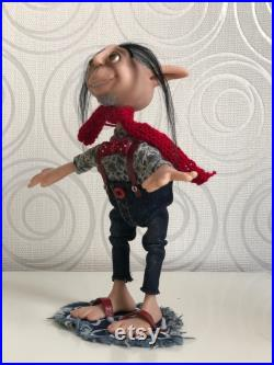 HOUSE ELF 7,5 inch Art doll OOAK Polymer clay Artist interior doll Collectible Mixed media Decorative doll Souvenirs doll Movable