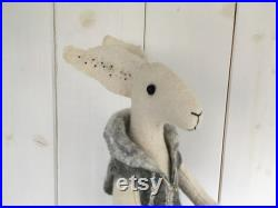 Hand felted sculptured hare-Humanised hare