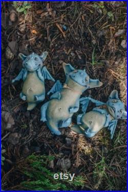 Handmade Dragon Toy Doll Best Friend Gift, Polymer Clay Blue Dragon Miniature Doll Gift for Reader, Mystical Creature Dragon Art Doll