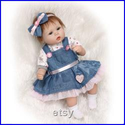 Handmade RealLife Baby Dolls 22 Soft Adorable Gift Child Play Silicone Vinyl Reborns Lifelike Newborn Baby Girl Toy Magnetic Pacifier