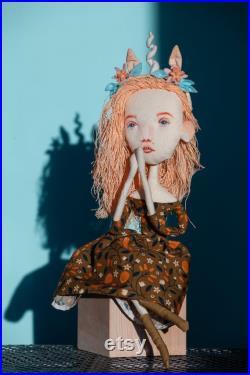 Handmade cloth art doll. Textile Girl-Unicor with flower headband.