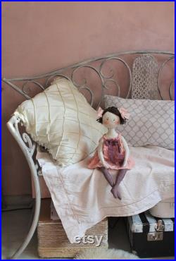 Handmade doll Vintage style doll Textile doll Decorative doll 1920s style doll in pink dress Soft doll Fabric doll Gifts for girls Art doll