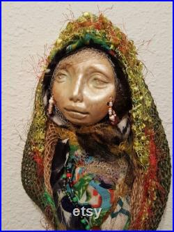 Hecate Moon, Art Doll, Altar spirit doll, Handcrafted Doll, home kitchen witch, protector spirit, moon dreamer